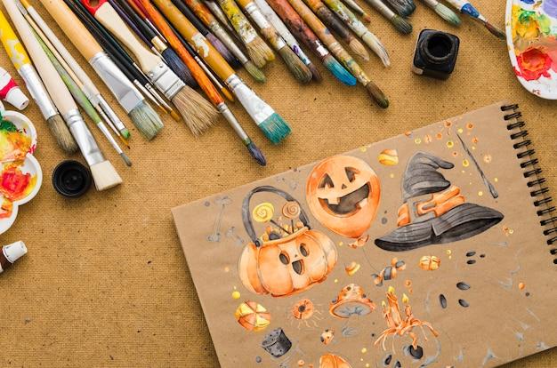 Хэллоуин рисовать на тетради с кистями Бесплатные Psd