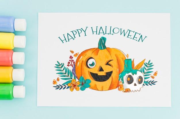 Лист бумаги с концепцией счастливого хэллоуина Бесплатные Psd