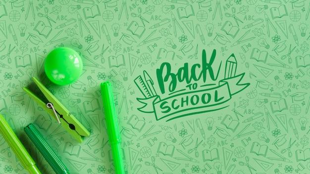 学校に戻るイベントのためのグリーン用品の手配 無料 Psd
