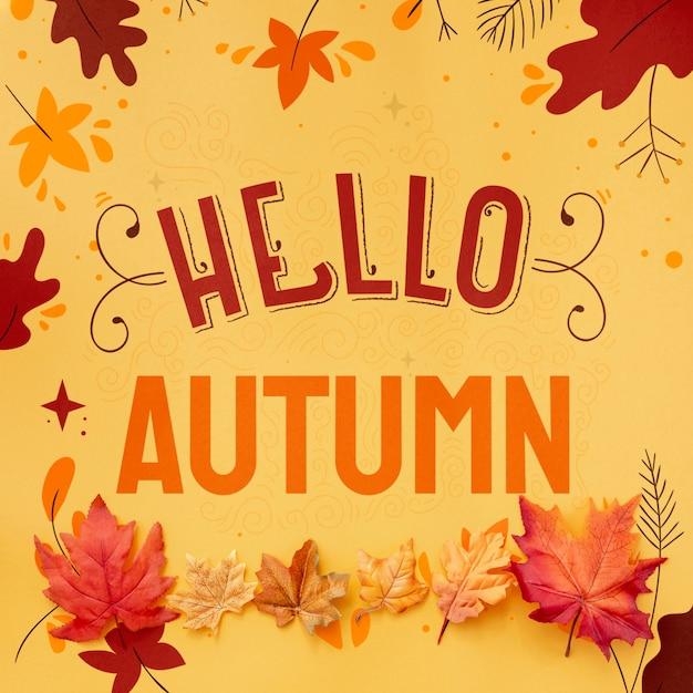 こんにちは、乾燥した葉と秋のテキスト 無料 Psd