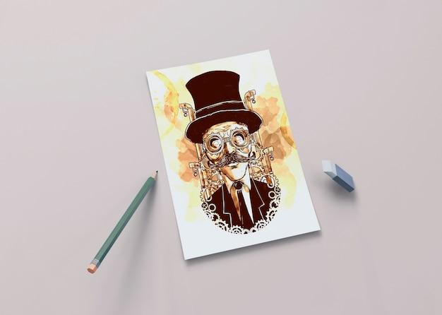 Художественный рисунок на листе карандашом Бесплатные Psd