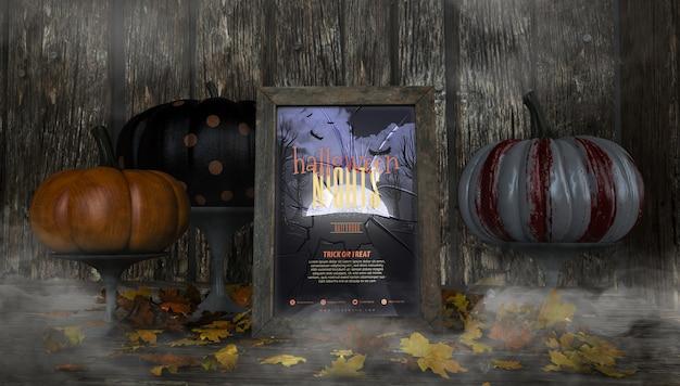 Разнообразие красочных тыкв и макетов рамок ночи хэллоуина Бесплатные Psd