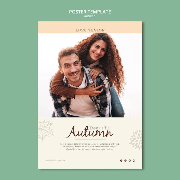 Красивая влюбленная пара в осеннем шаблоне плаката Бесплатные Psd