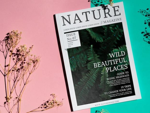 Дикие красивые места журнала на простом фоне Бесплатные Psd