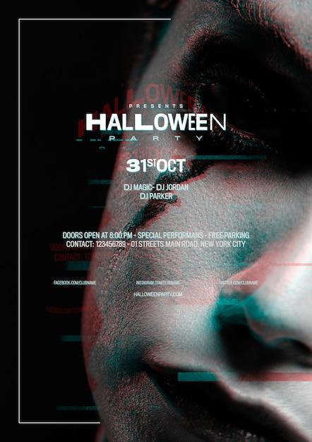 Крупным планом женщина с хэллоуин макияж и глюк эффект Бесплатные Psd