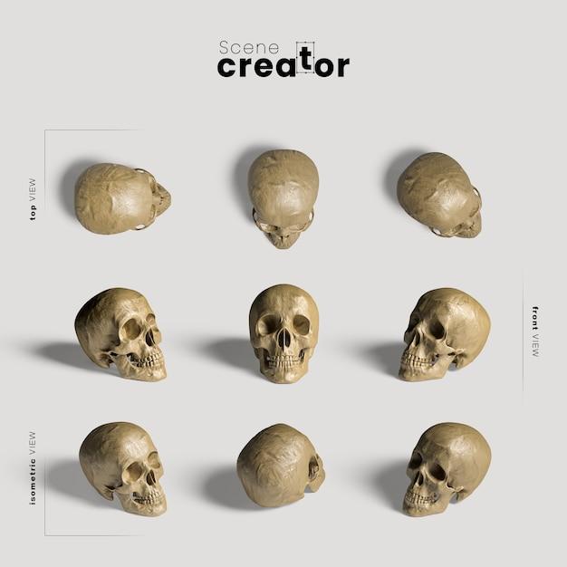 現実的な頭蓋骨のさまざまな角度のハロウィーンシーンクリエイター 無料 Psd
