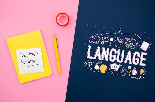 言語を学ぶためのインスピレーションを与えるメッセージとモックアップ 無料 Psd