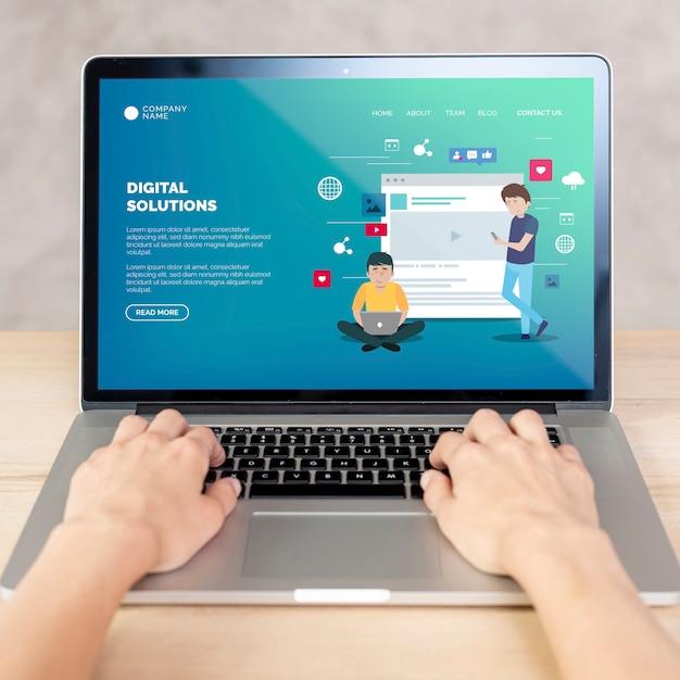 Вид спереди на ноутбук с концепцией целевой страницы Бесплатные Psd
