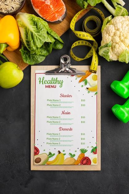 野菜とフラットレイアウトダイエットメニュー 無料 Psd