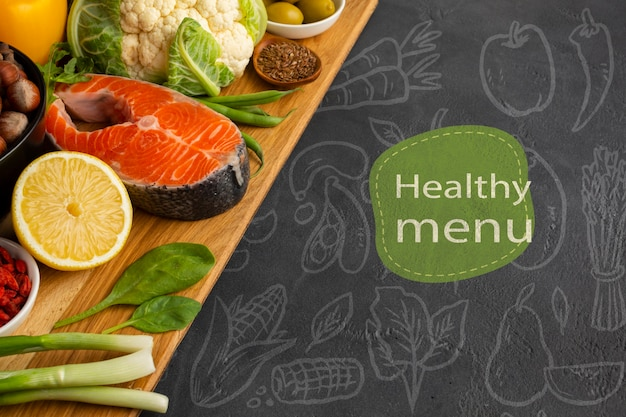 魚と野菜の健康的なメニューコンセプト 無料 Psd