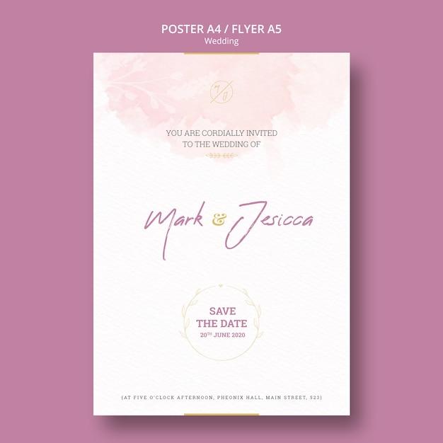 美しい結婚式チラシモックアップ 無料 Psd