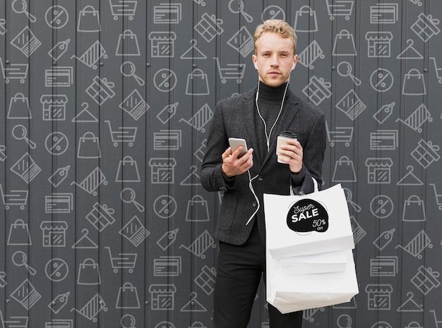 ショッピング時のコピースペース男性 無料 Psd