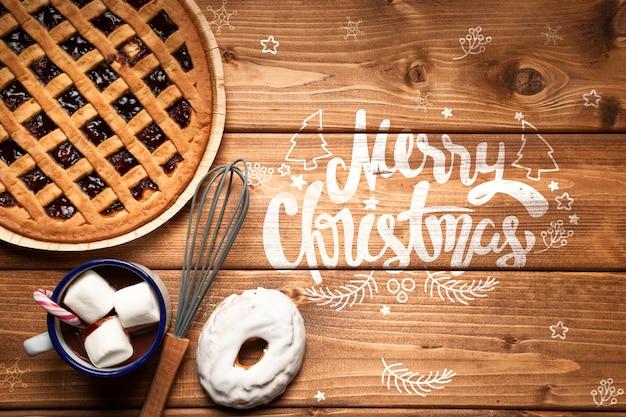 クリスマスパイとコピースペースとホットチョコレート 無料 Psd