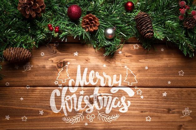 コピースペースでクリスマスマツ円錐形の装飾 無料 Psd