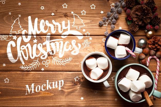 コピースペースでクリスマスホットチョコレート 無料 Psd