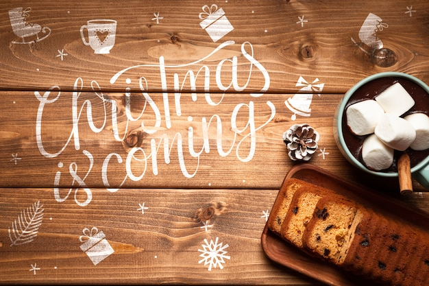 クリスマスホットチョコレートとケーキコピースペース 無料 Psd