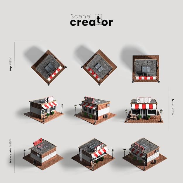 Магазин различных ракурсов для иллюстраций создателя сцены Бесплатные Psd