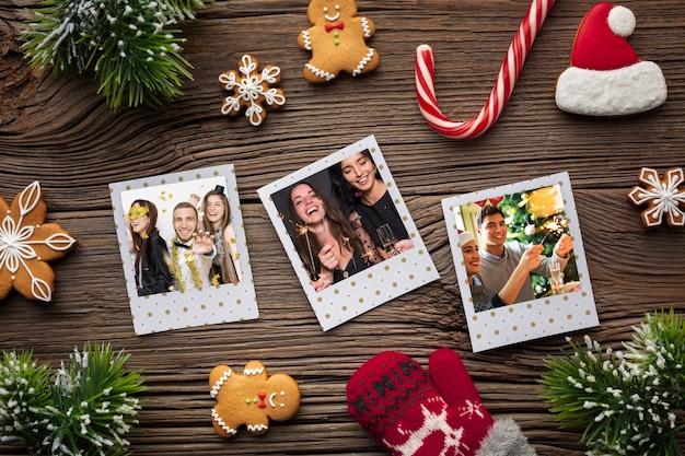 トップビューの家族写真と砂糖菓子の杖 無料 Psd