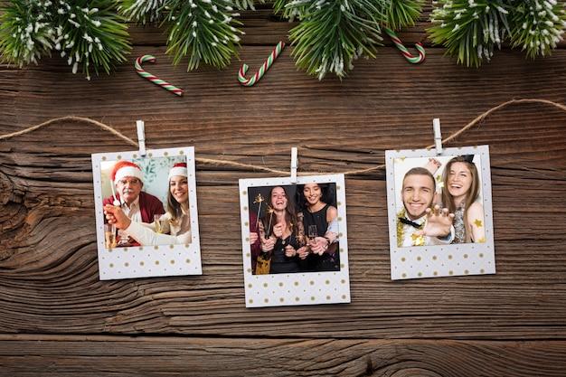 Плоские лежал счастливые семейные фотографии Бесплатные Psd