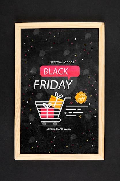 Черная пятница концепция макет на черном фоне Бесплатные Psd
