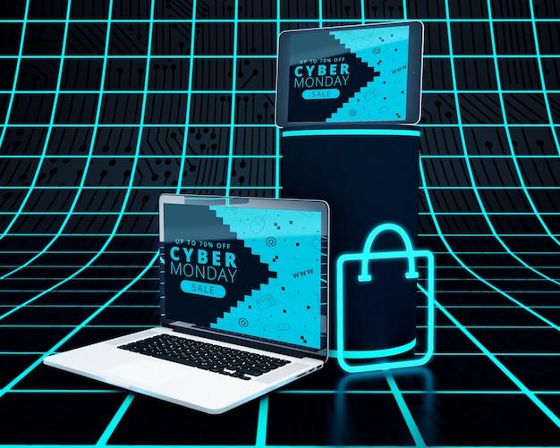 ハイテクノートパソコンとネオンショッピングバッグ 無料 Psd
