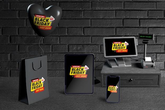 Вид спереди создателя сцены черная пятница Бесплатные Psd