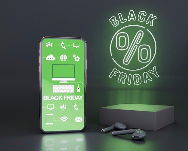 緑のネオンと黒い金曜日の背景 無料 Psd