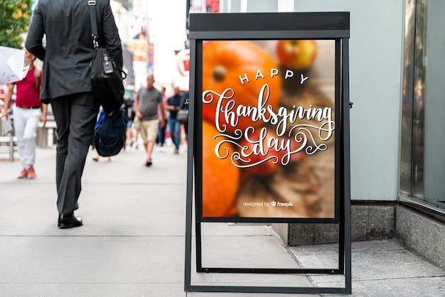 幸せな感謝祭の看板のモックアップ 無料 Psd