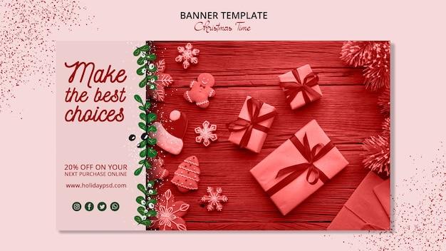 Рождественский баннер шаблон концепции Бесплатные Psd