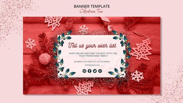 Красивый рождественский баннер шаблон концепции Бесплатные Psd