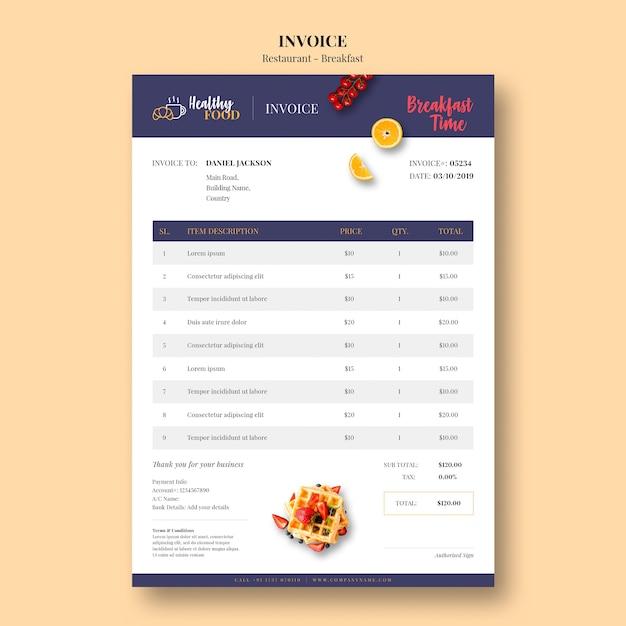 Шаблон минимальной накладной для ресторана Бесплатные Psd