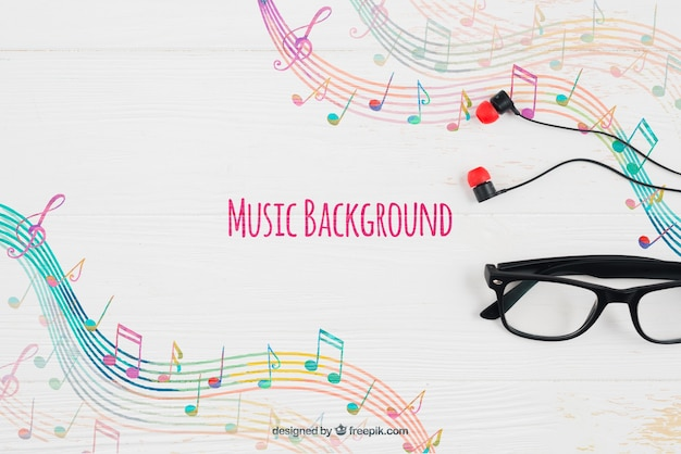 Музыкальные ноты фон и очки Бесплатные Psd
