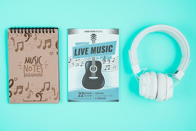 ノートブックの音楽的な注目のデザイン 無料 Psd