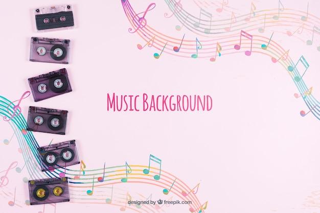 Музыкальные ленты на столе с музыкальным фоном Бесплатные Psd