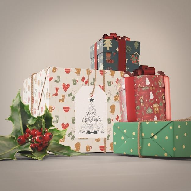 Набор подарочной коллекции на рождественский макет Бесплатные Psd