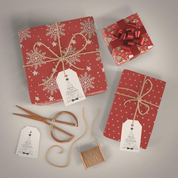 Декоративная упаковка подарков на рождество Бесплатные Psd