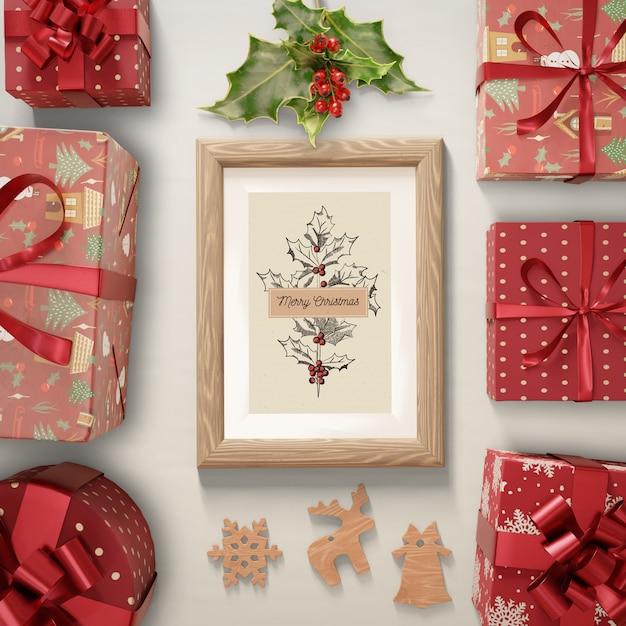 Подарки краской с рождественской темой Бесплатные Psd