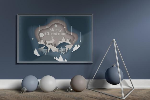 北欧のクリスマスデコレーションモックアップ 無料 Psd