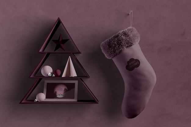 横に靴下と壁にクリスマスツリーの形 無料 Psd