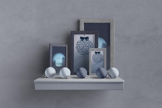 Полка с рамой коллекции и глобусы Бесплатные Psd