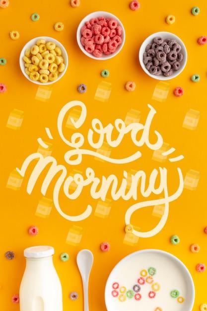 シリアルとミルクの朝の朝食 無料 Psd