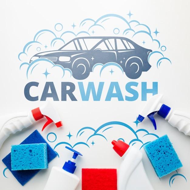 Концепция автомойки с чистящими средствами Бесплатные Psd