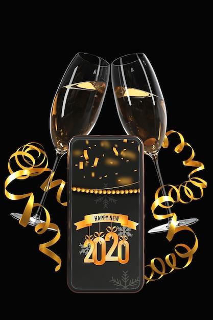 Темно-золотой вид с телефоном и очками Бесплатные Psd