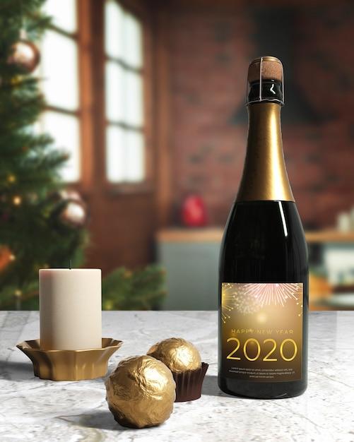 Бутылка шампанского, приготовленная к новогодней ночи Бесплатные Psd
