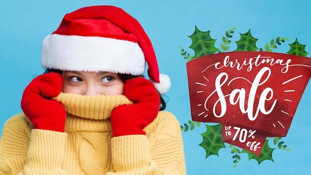 冬服のモックアップを着た女の子 無料 Psd