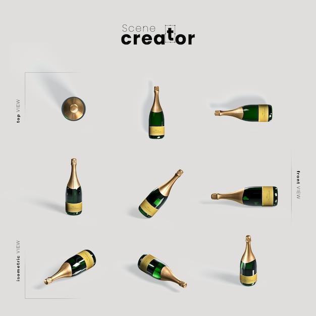 Бутылка шампанского различные углы создатель рождественской сцены Бесплатные Psd