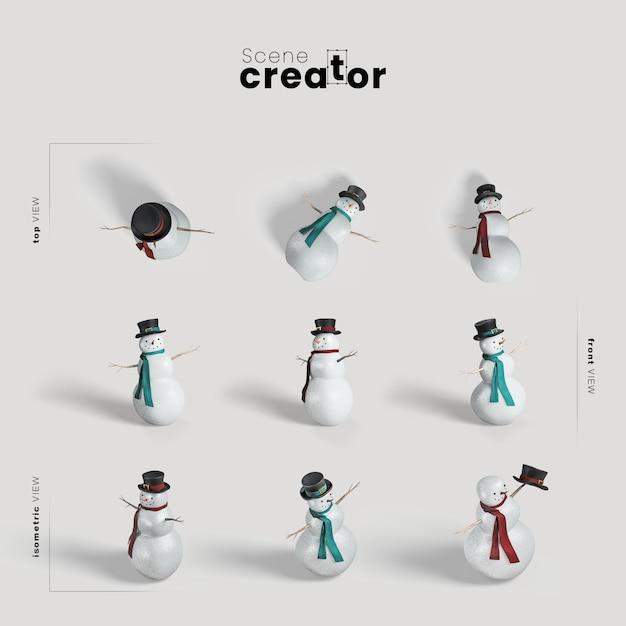 Снеговик разнообразные углы создатель рождественской сцены Бесплатные Psd