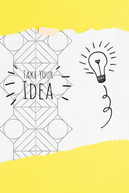Возьмите свою идею цитатой с эскизами и рисунками Бесплатные Psd