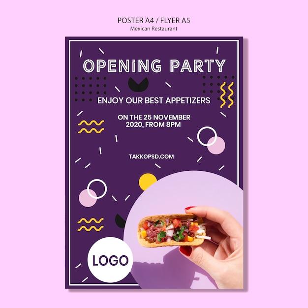 Плакат мексиканской ресторанной вечеринки Бесплатные Psd