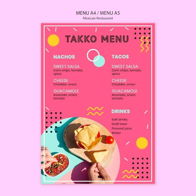 Красочное меню мексиканского ресторана Бесплатные Psd